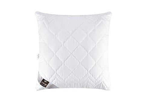 Oreiller matelassé de qualité premium en microfibre Design « Welle », remplissage des billes de fibres 3-D - très doux et confortable - force de soutien réglable par fermeture-éclair. Un bord blanc perle incorporé donne à l'oreiller une élégance particulière (blanc perle, 80x80)
