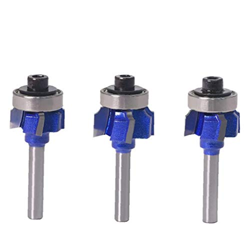 Uayasily Woodworking Milling Edge Trimmer Trimming Tool 4 Teeth Arc Chamfering Tool 6mm Shank 3PCS 3D printer accessories