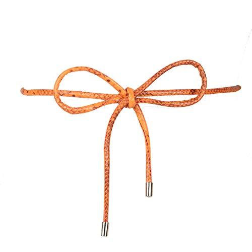 TWO 12 FASHION Damen Gürtel aus veganem Leder, Schlangenleder-Optik - Orange - Einheitsgröße