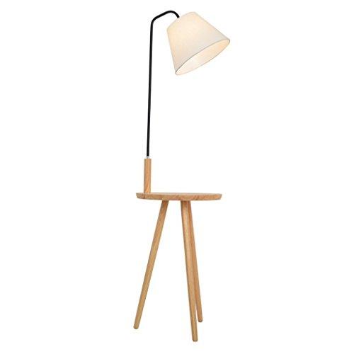 YISUNF Lámpara de pie con el estante, de madera maciza de la sala de estar dormitorio lámpara de cabecera, Vertical nórdica creativo moderno de la personalidad de lectura lámpara de Protección for los
