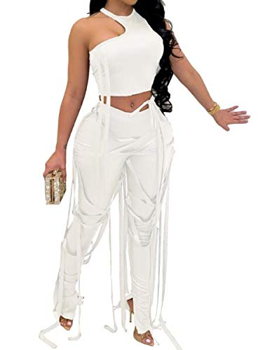 DressU Womens Sexy Pure Color Bandage 2 Piece Set Stylish Fitted Sport Sweat Suit Set White XL