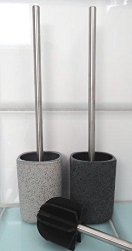 Lotus Silikon WC Bürste - Borstenlos - schwarz mit Bürstenständer (Stone Basalt)