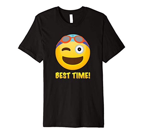 Swim Best Time Winking Face With Goggles Swimming T Shirt