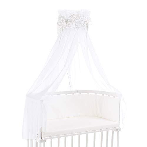 babybay Ciel de Lit en Coton Organique avec Nœud Convient pour Tous Modèles Blanc avec Étoiles Pailleté Argent 1 Unité