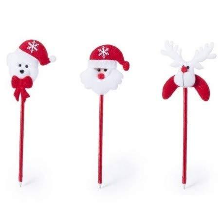 DISOK Lote de 50 Bolígrafos Navidad - Papa Noel, Reno - Bolígrafos Adultos, Niños, Infantiles