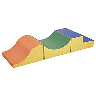 FDP SoftScape Thrill-Scape Climber for Toddlers and Kids, Colorful Beginner Step and Slide Foam Structure for Active Playtime (3-Piece Set) - Assorted