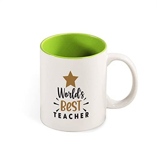 PotteLove Worlds Best Teacher - Taza de café (325 ml), diseño de cofrera