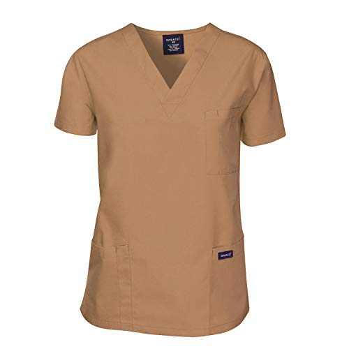 Dagacci Scrubs Medical Uniform Men Scrubs Shirts Medical Scrubs Top X-Small Khaki