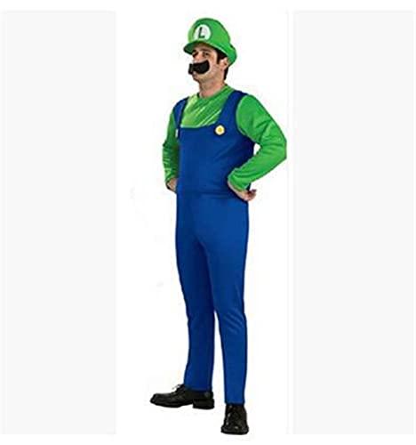 Disfraz DealMux, cosplay, Halloween, fiesta, disfraz para adultos y niños, para regalos, atuendos (color: Luigi, talla: S)