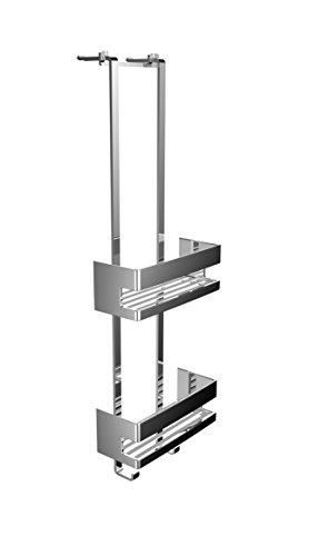 emco SYSTEM2 Türetagere mit zwei Duschkörben, hochwertige Duschablage zum Hängen aus Metall, Duschkorb ohne Bohren für Badutensilien, chromfarben