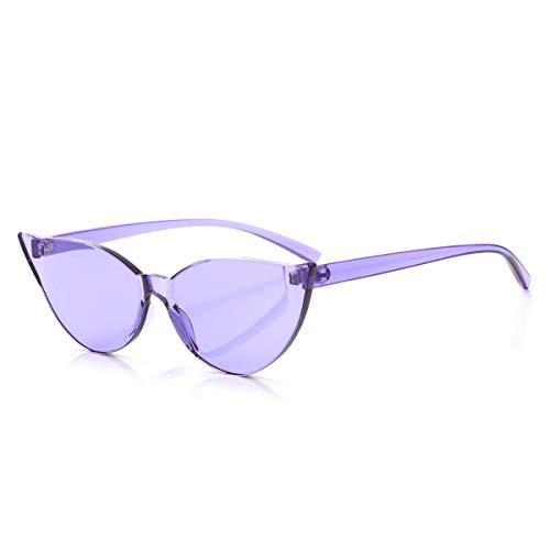 OLINOWL Cat Eye Rimless Sunglasses Oversized One Piece Colored Transparent Eyewear Retro Eyeglasses for Women Men ?, Purple, Cateye
