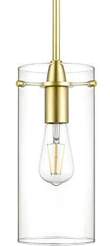 Gold Pendant Light - Modern Effimero Mini Pendant Lighting for Kitchen Island Decor - Clear Glass Fixture with Large Lamp Shade