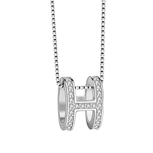 WJWAINI Colgante de plata de ley 925 con letra H, colgante de circonita de cristal, collar cuadrado de circonita de cristal 925, adecuado para hombres y mujeres, moda simple cumpleaños