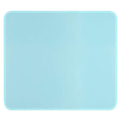 Mouse Pad with Durable Stitched Edge, Small Computer Mousepad Desk Mat with Smooth Surface, Non Slip Rubber Base Mouse Pad for Laptop, Gaming, 10.2x8.3x0.12in, Light Blue