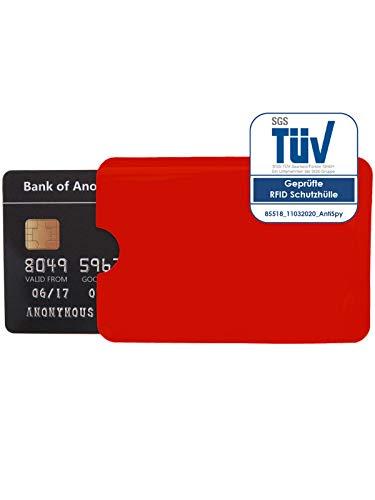 1x Schutzhülle RFID Blocker für NFC Kreditkarte EC Karte und Ausweis Datenschutz (Rot)
