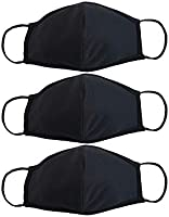 EnerPlex 3-Ply Reusable Face Mask - Breathable Comfort, Fully Machine Washable, Face Masks Large (3-Pack) - Black