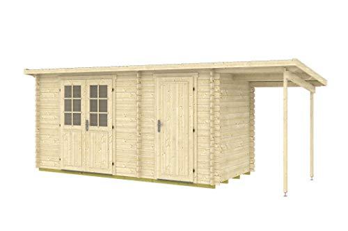 Tene Kaubandus Gartenhaus Schleppdach Gloria H 28 + 150cm Schleppdach 28mm Blockhaus 445x290+150cm Holzhaus