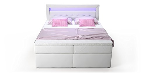 Box Bett Doppelbett Hotelbett Delia mit Bettkasten Schubkasten LED Kunstleder weiß 160 180×200 Ehebett Bonellfederkern Topper (180 x 200 cm) - 6