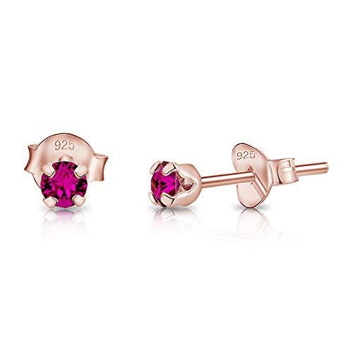 DTPsilver - Semental Pendientes/Aretes de Plata de Ley 925 Chapado en Oro Rosa con Cristal Swarovski Elements Minúsculo Redondo - Diámetro: 3 mm - Color: Fucsia