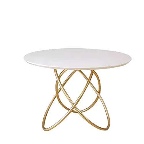 Zhenhe Modern Nordic Hierro Madera mesa de centro, Mesa de pequeñas y redondas for pequeña sala de estar, mesa de té pequeña tabla for la pequeña oficina Adecuado para sala de estar, oficina, estudio.