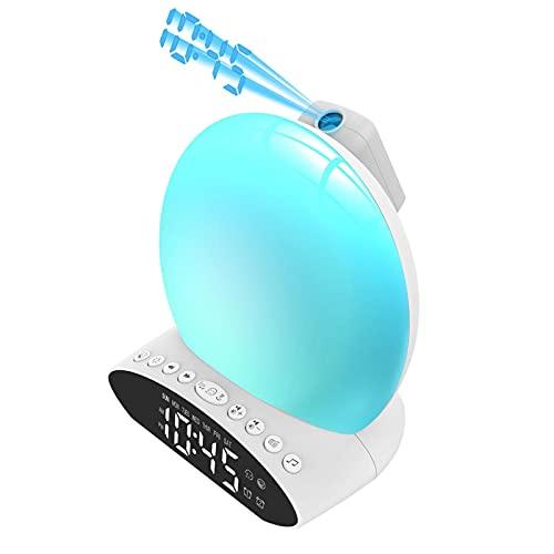 Operalie Wake Up Light, LED Sunrise and Sunset Wake Up Light 7 Colores Luz de Noche Radio FM Luces de Colores Música Ambiente Reloj Despertador para niños Adultos Dormitorios