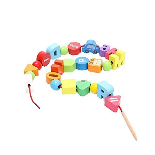GGOOD Una Variedad de Granos de Color Madera Redonda de Grandes Granos del Espaciador de Madera en Rollo Agujero para DIY Granos del Espaciador de Madera Proyecto para niños Juguetes educativos 1 Set