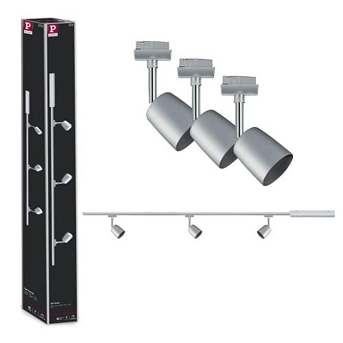 Paulmann URail Set Cover Chrom - Premium Schienensystem in mattem Chrom - enthält drei GU10 Leuchten mit 10 W- Energieklasse A++ - 95462