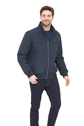 Tommy Hilfiger Men's Performance Faux Memory Bomber Jacket, Navy, L
