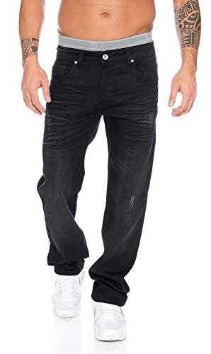 Rock Creek Designer Herren Jeans Hose Straight-Cut Gerades Bein Clubwear [LL-303 - Schwarz - W42 L36]
