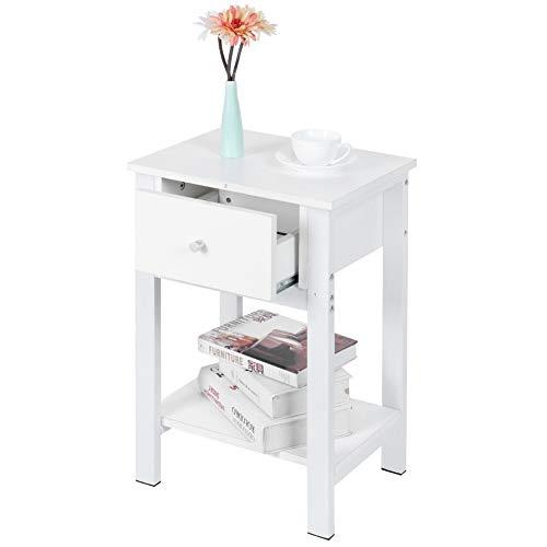Nachttisch mit Schubladen Holz Beistelltisch Nachtschrank mit offenem Fach Nachtkommode Schrank Lagerung Sofatisch Couchtisch für Schlafzimmer Wohnzimmer, 40,2 x 30,2 x 60,5 cm Weiß