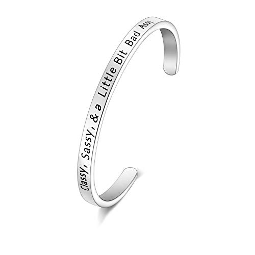 CENWA Sarcastic Quote Classy Sassy and a Little Bit Bad Assy Cuff Bracelet Classy But Sassy Gifts for Sassy Girls (Classy Sassy Cuff s)