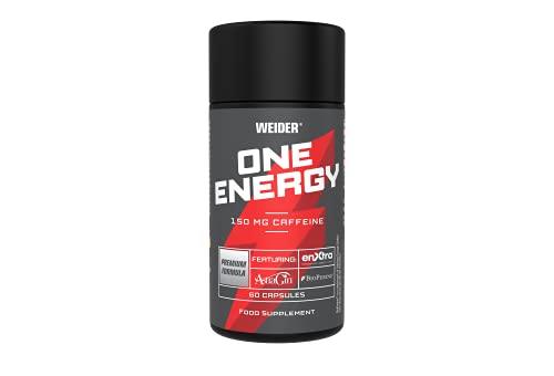 Weider One Energy capsule di caffeina ad alto dosaggio con complesso di estratti vegetali, cera Pre Workout e Gaming Booster, Nootropika, 60 capsule
