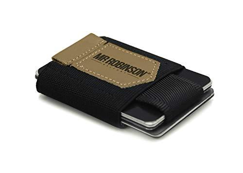 Portafoglio da uomo piccolo minimalista MR. ROBINSON BELFORT | Portafoglio ultra sottile in pelle per banconote e carte | Slim Wallet per uomo (Marrone)