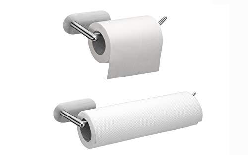 Küchenrollenhalter Ohne Bohren, 2er Pack Wand Toilettenpapierhalter Selbstklebend Papierrollenhalter wandmontage Rollenhalter für Küchenkrepp, Edelstahl Matt