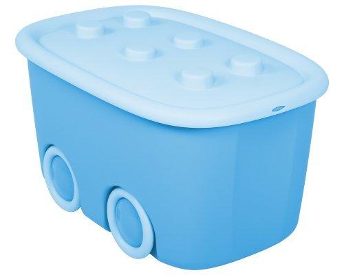 Ondis24 Aufbewahrungsbox Spielzeugaufbewahrungskiste Spielzeugbox Funny, hellblau mit großen Rädern und aufliegendem Deckel