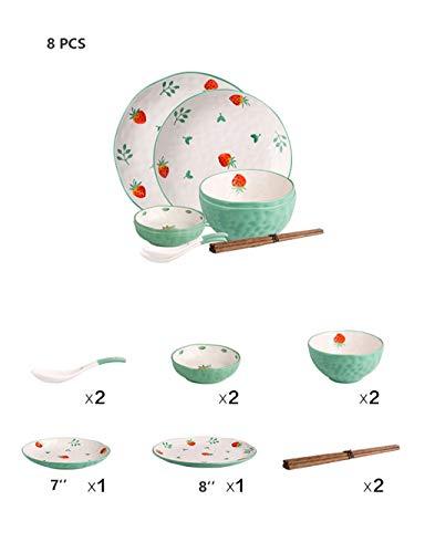 Disposable lunch box Durable Porzellan 8-teiliges Set Dessertteller, nettes Erdbeere Geschirr for 2 Personen (Color : Green)