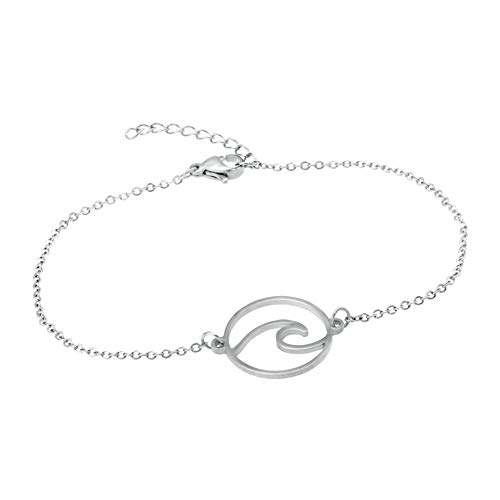 TEMPUS FUGIT. Pulsera Element, con LA Ola. Acero Inoxidable Antialérgico Brillo Satinado