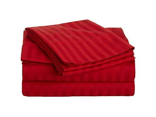 Tula Linen Juego de sábanas de 1000 Hilos, 4 Piezas Rayas tamaño tamaño de Bolsillo de 44cm Material 100% de algodón Egipcio (UK Double Size 135 x 190 CM, Roja)