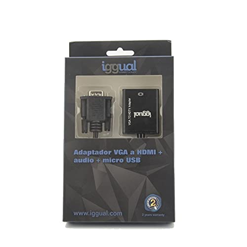 iggual Adaptador VGA a HDMI + audio + microUSB