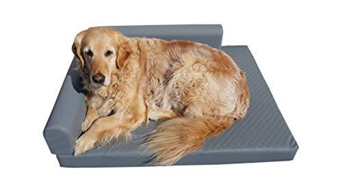 Natalia Spzoo Orthopädisches Hundebett Eckbett Ecke Hundematte luxuriös (S - 80 x 60 cm, Grau)