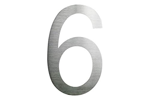 Número de casa de acero inoxidable Nr, 6 H30cm/300 mm en Arial 2D V2A cepillado en talla XXL-tamaño!
