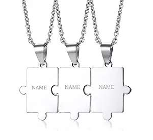 PJ JEWELLERY Customised Stainless Steel Matching Puzzle Piece Charm Best Friend Friendship BFF Puzzle Necklace for 3,Silver,Free Engraving