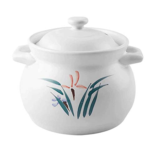 SMEJS Heavy Duty résistant à la Chaleur en céramique Pot, Blanc, céramique modelée Disque Casserole Pot, Pot d'argile Vaisselle en céramique