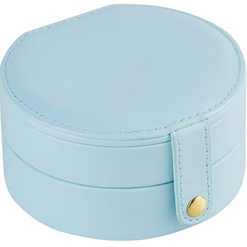 Fransande Oval with Make Up Mirror Storage Box Women Gift Pu Leather Travel Jewelry Organizer Five Color,Light Blue