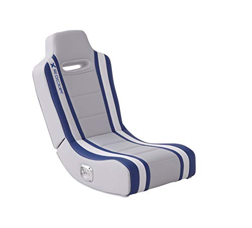 X-Rocker Shadow 2.0 Floor Rocker, Compact Foldable Low Video Gaming Chair with Built In Stereo Sound Speakers - Grey/Blue