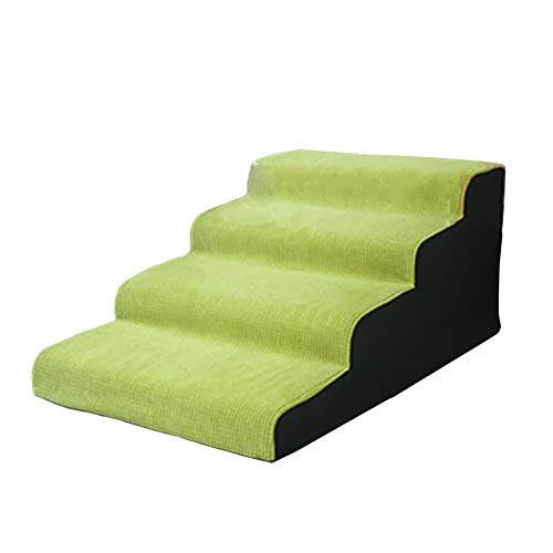 A-ffort Green Pet Dogs Stairs, 4 Tier Lightweight Pet Steps for Bed and Sofa, Cats/Doggy Ramp with Removable Cover (Size : 4 step-90×50×50cm)