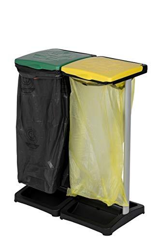 Kreher Müllsackständer aus Kunststoff mit Deckel, 2tlg. Hält max. 2 Säcke mit ca. 110 Liter Volumen. Mit Fach für Müllsäcke. Preiswert und praktisch.