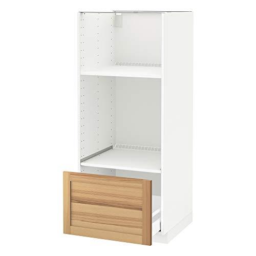 METOD/Maxim hög hytt för ugn/micro med låda 60 x 62 x 148 cm vit/torhamn-aska