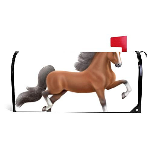 Yilooom Bay American Saddlebred Horse Mailbox Cover Magnetic Mail Box Wrap Yard Garden Decor 17.25 X 20.75 Inches