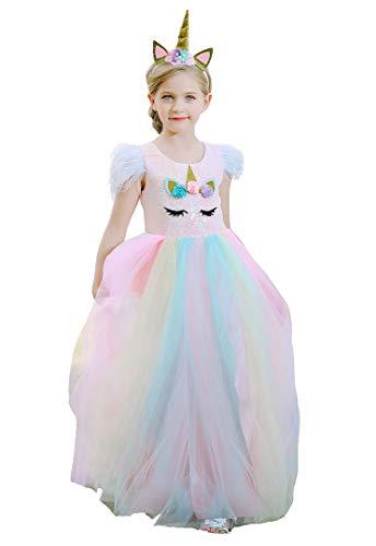 Bow Dream Flower Girl Dress Lace Sequins Unicorn Dress Girl's Birthday Dress 2pc Dress +Headband Unicorn 4